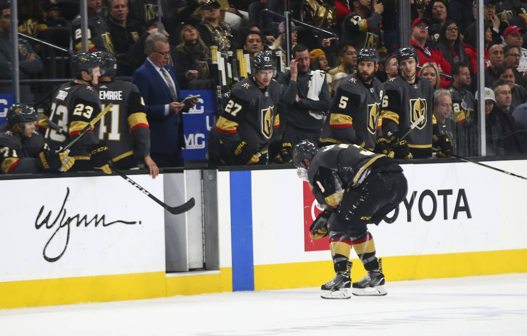 Golden Knights defenseman Brayden McNabb (3) heads off the ice after taking a hit from the Washington Capitals during the third period of an NHL hockey game at T-Mobile Arena in Las Vegas on Tuesd ...
