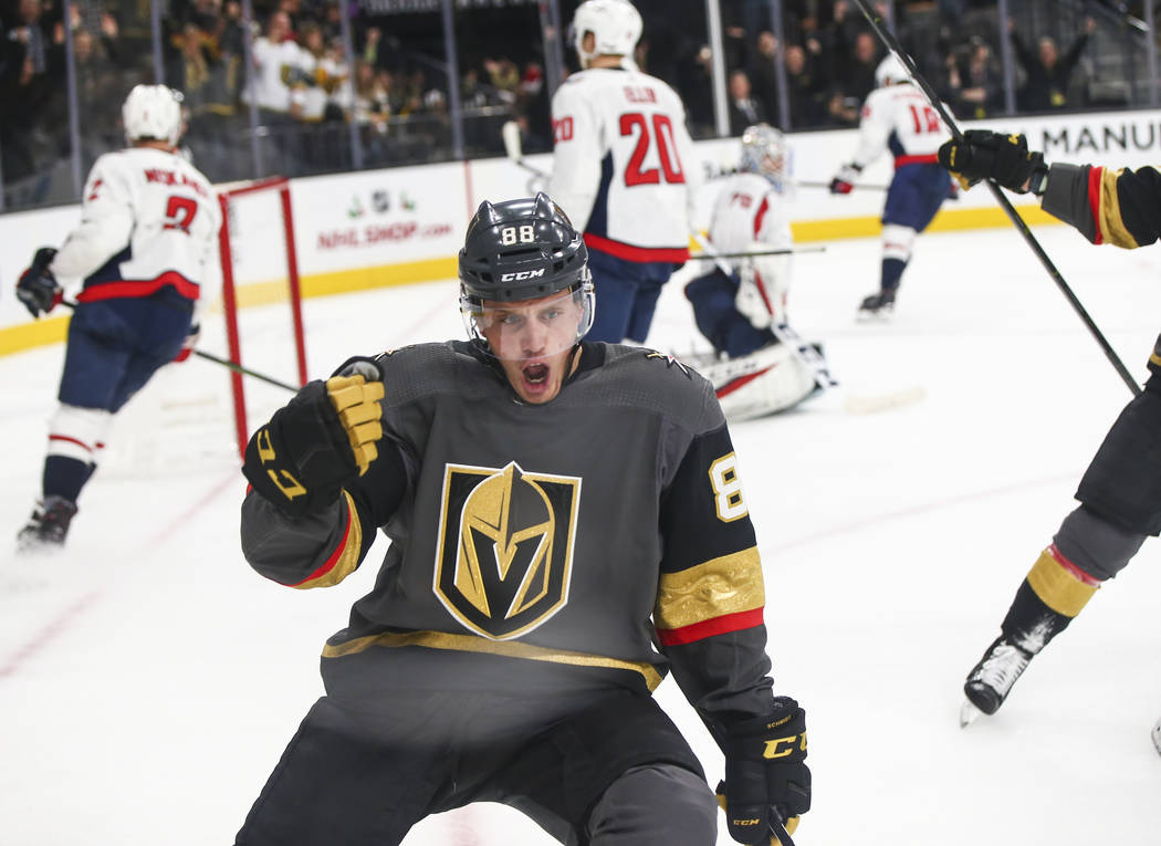 Golden Knights defenseman Nate Schmidt (88) celebrates his goal against the Washington Capitals during the third period of an NHL hockey game at T-Mobile Arena in Las Vegas on Tuesday, Dec. 4, 201 ...