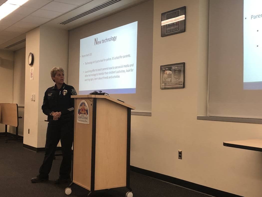 North Las Vegas Police Department Chief Pamela Ojeda speaks to residents at a community meeting on Tuesday, December 4, 2018. The meeting was called to address a recent string of unrelated shootin ...
