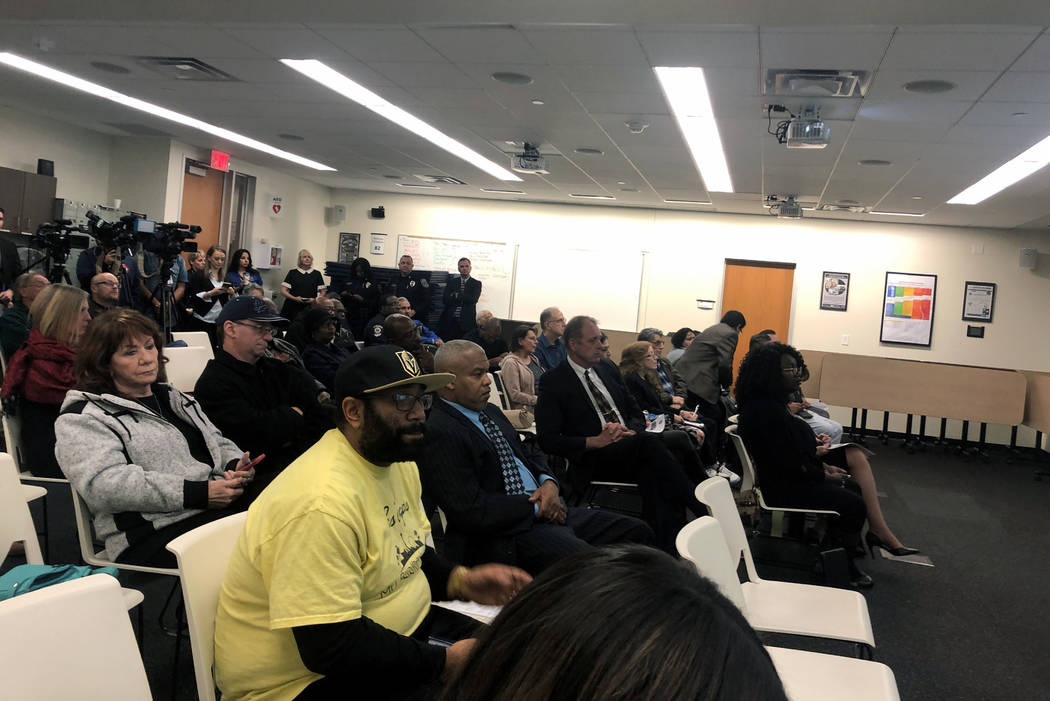 A crowd of North Las Vegas residents hear from officials at a community meeting on Tuesday, December 4, 2018. The meeting was called to address a recent string of unrelated shootings in the city a ...