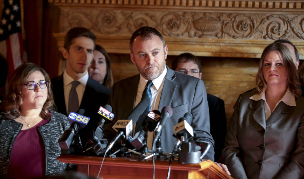 Wisconsin Minority Leader Gordon Hintz holds a press conference in the Assembly chambers, Tuesday Dec. 4, 2018 at the Capitol in Madison. The Senate and Assembly are set to send dozens of changes ...