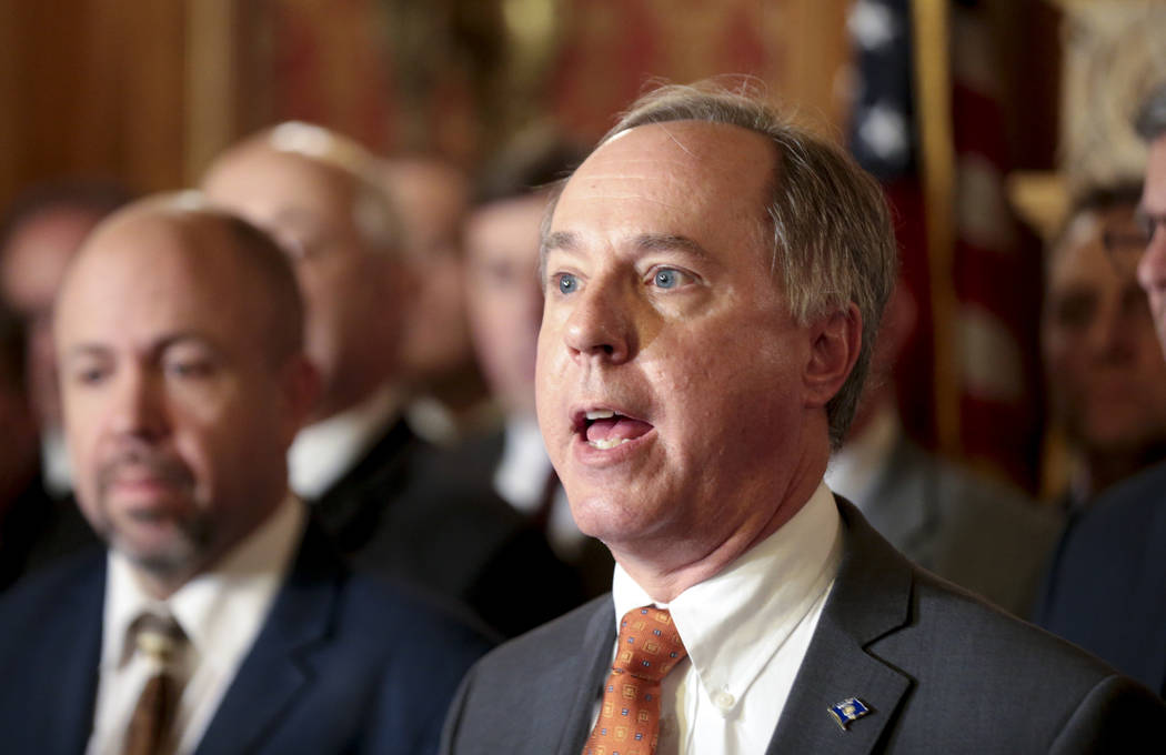 State Assembly Speaker Robin Vos, R-Rochester, holds a press conference in the Assembly parlor, Tuesday Dec. 4, 2018 at the Capitol in Madison. The Senate and Assembly are set to send dozens of ch ...