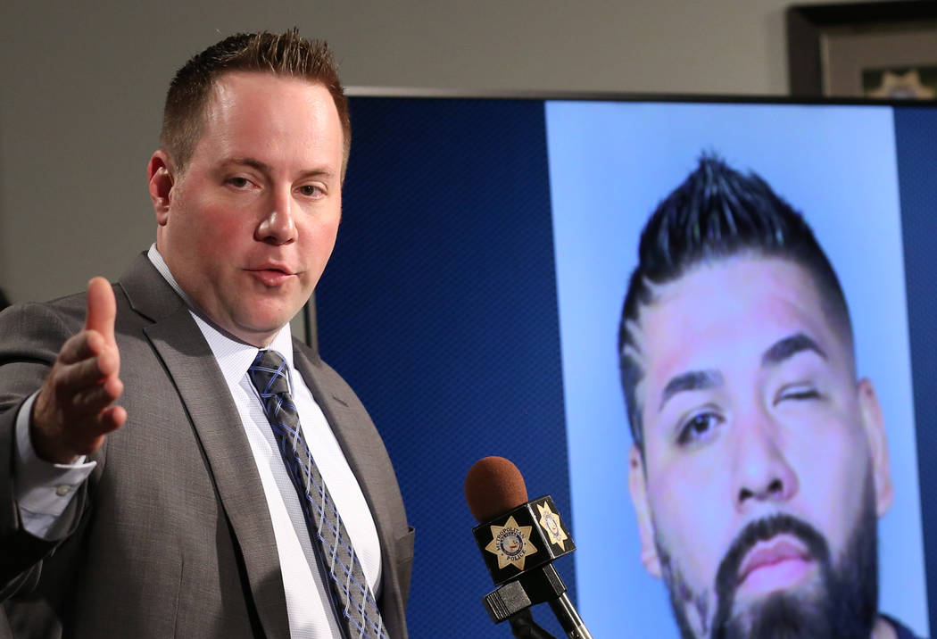 Lt. Reggie Rader of Metro's gang unit speaks on Wednesday, Dec. 5, 2018 at the LVMPD Headquarters where LVMPD Gang Crime Unit commanders held a news conference to announce the recent arrests of mo ...