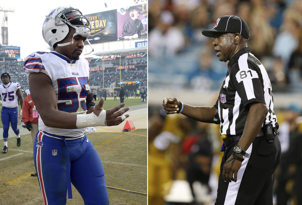 At left, in a Jan. 7, 2018, file photo, Buffalo Bills defensive end Jerry Hughes (55) leaves the field after an NFL wild-card playoff football game against the Jacksonville Jaguars, in Jacksonvill ...