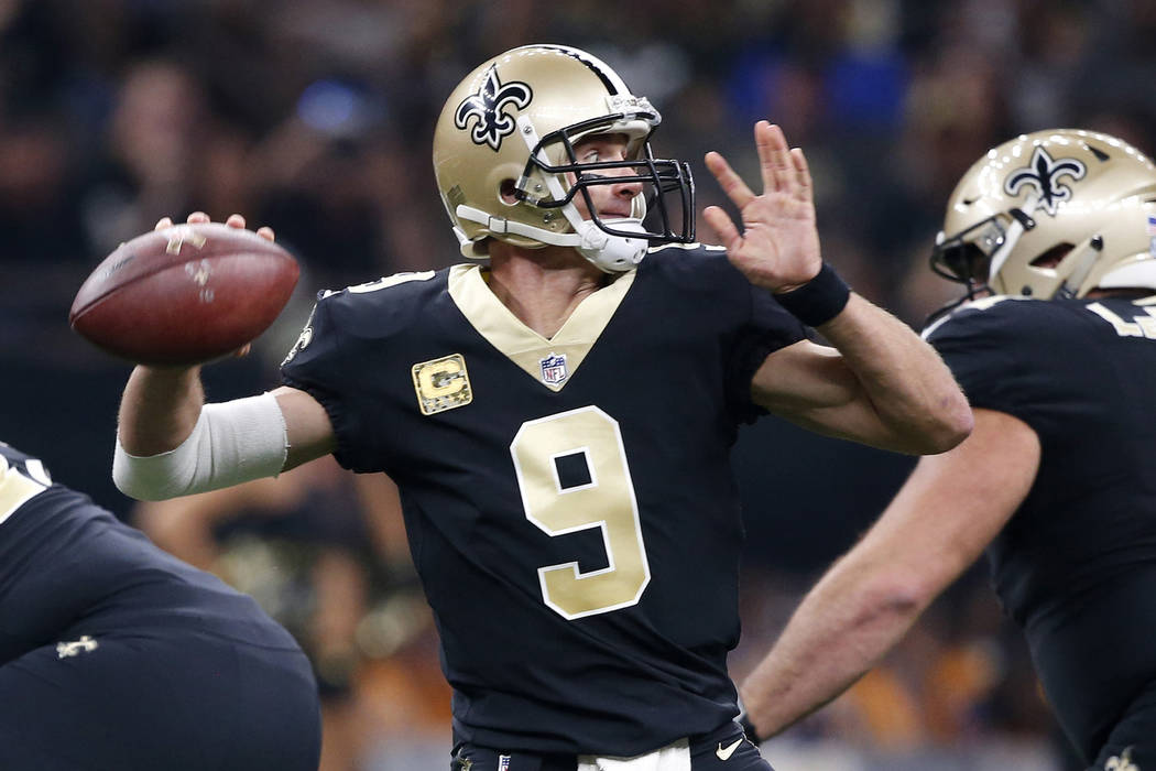 New Orleans Saints quarterback Drew Brees (9) drops back to pass in the first half of an NFL football game against the Tampa Bay Buccaneers in New Orleans, Sunday, Nov. 5, 2017. (AP Photo/Gerald H ...