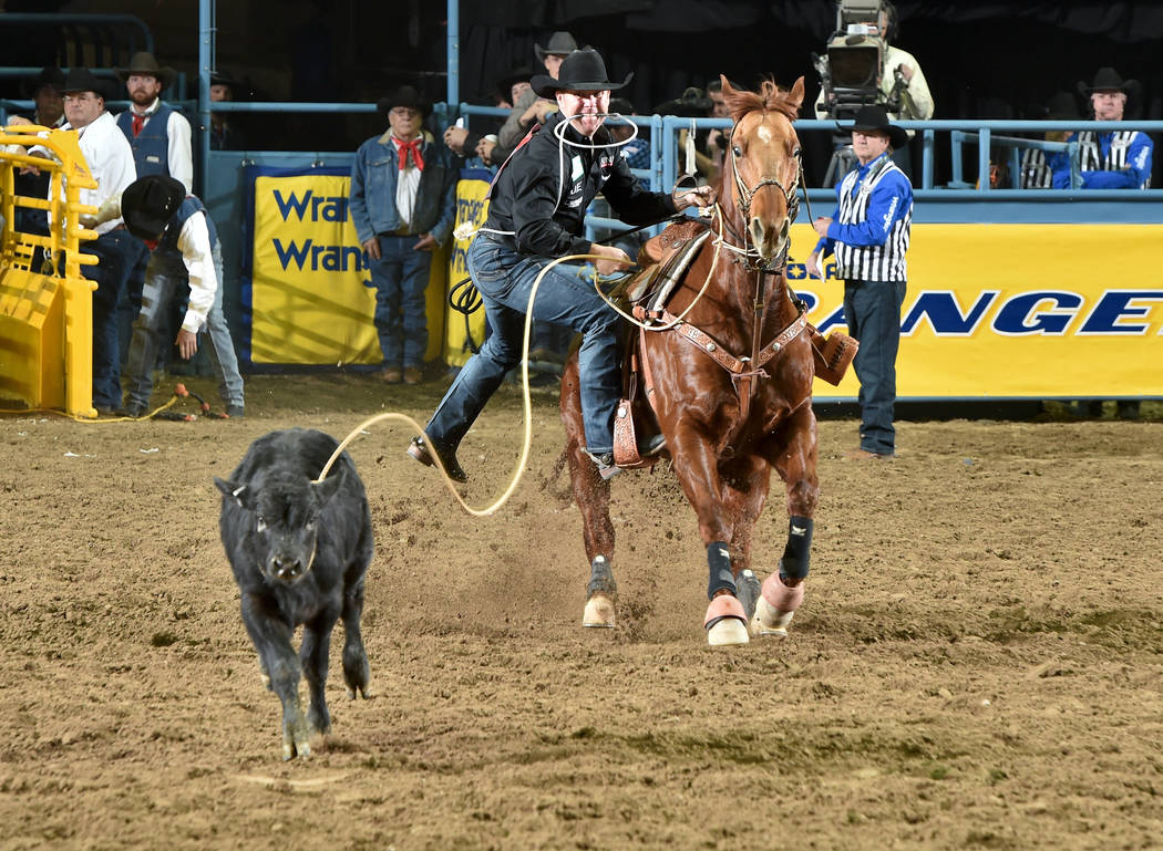 Trevor Brazile, who has a record 13 all-around world titles among his 23 total gold buckles, will compete in tie-down roping this week as he seeks a 14th all-around crown. PRCA Rodeo photo by Dan ...