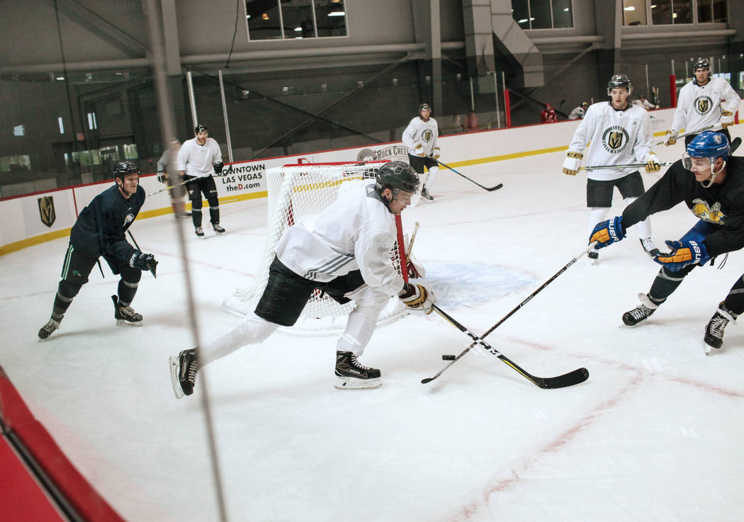 Golden Knights center Reid Duke (37) moves the puck forward during a practice at City National Arena in Las Vegas, Monday, Sept. 4, 2017. Joel Angel Juarez Las Vegas Review-Journal @jajuarezphoto