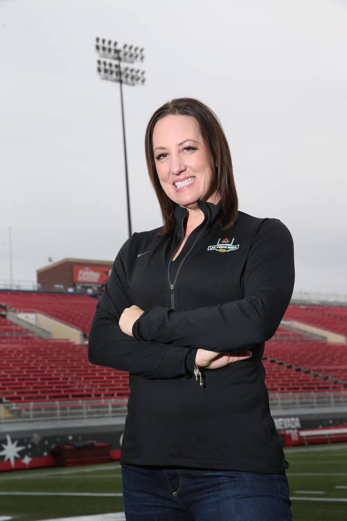 Melissa Meacham-Grossman, associate executive director for the Las Vegas Bowl, at Sam Boyd Stadium in Las Vegas, Friday, Dec. 7, 2018. Erik Verduzco Las Vegas Review-Journal @Erik_Verduzco