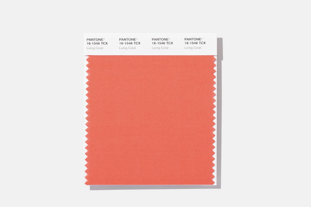 This image released by Pantone Color Institute shows a swatch featuring Living Coral, which Pantone Color Institute has chosen as its 2019 color of the year. (Pantone Color Institute via AP)