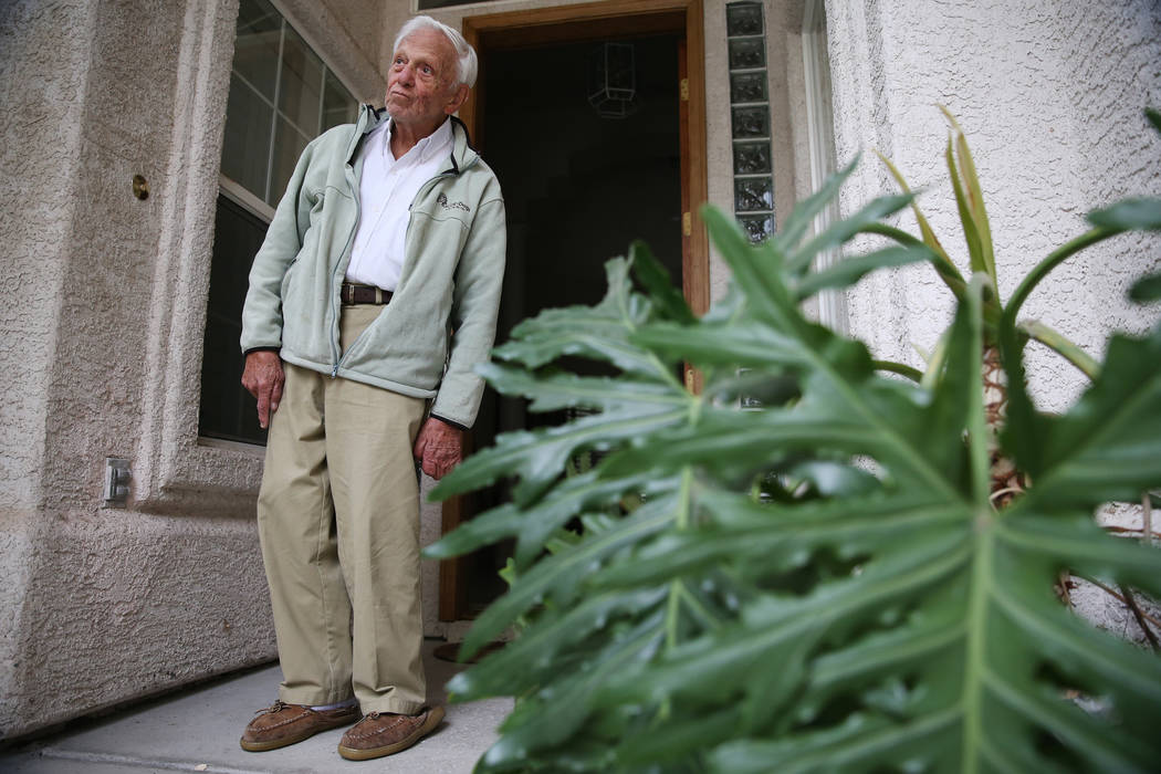 Dr. S. Jay Hazan, 93,a World War II veteran, at his home in Las Vegas, Wednesday, Dec. 5, 2018. Hazan was arrested on Friday after he caused a raucous at the VA hospital and stole his driver ...