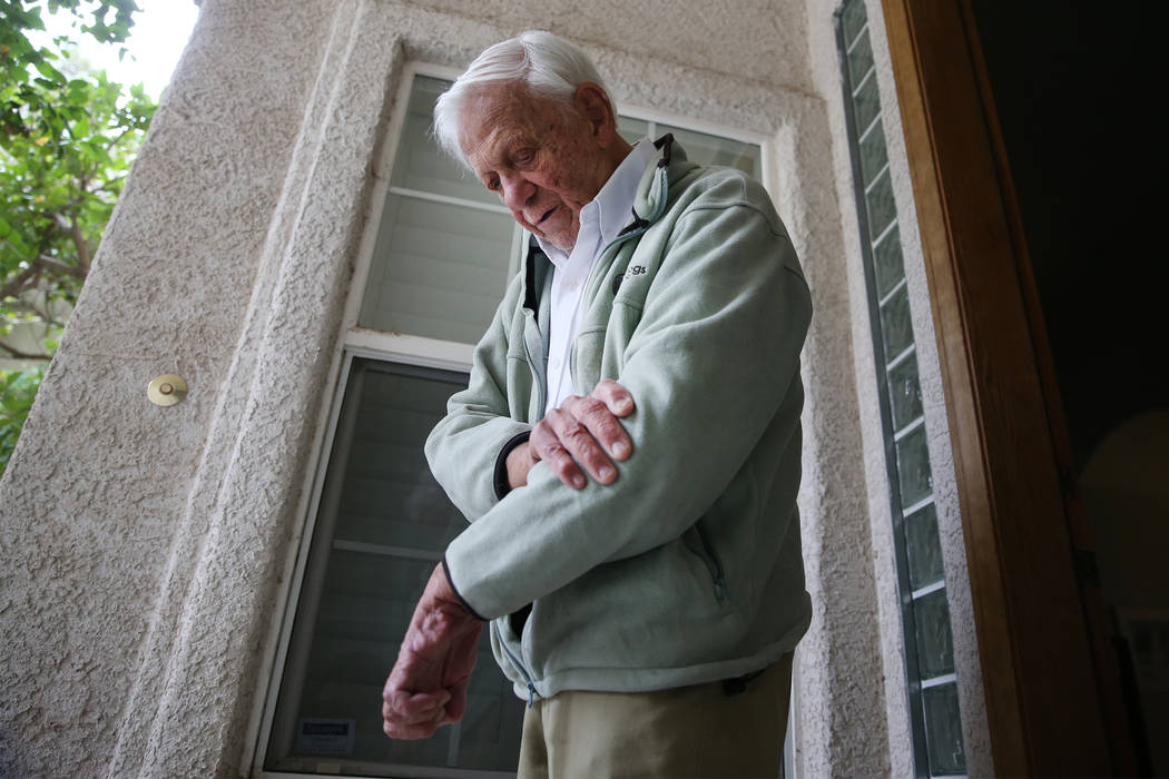 Dr. S. Jay Hazan, 93,a World War II veteran, talks about the pain to his elbow after his arrest last week, at his home in Las Vegas, Wednesday, Dec. 5, 2018. Hazan was arrested on Friday aft ...