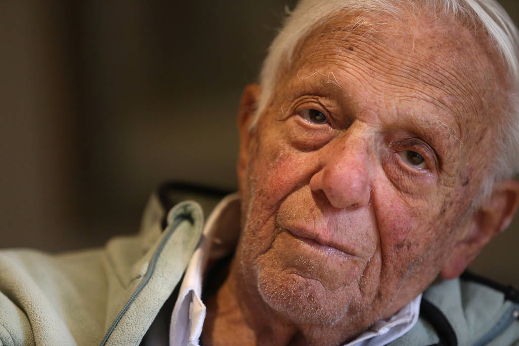 Dr. S. Jay Hazan, 93,a World War II veteran, is interviewed at his home in Las Vegas, Wednesday, Dec. 5, 2018. Hazan was arrested on Friday after he caused a raucous at the VA hospital and s ...