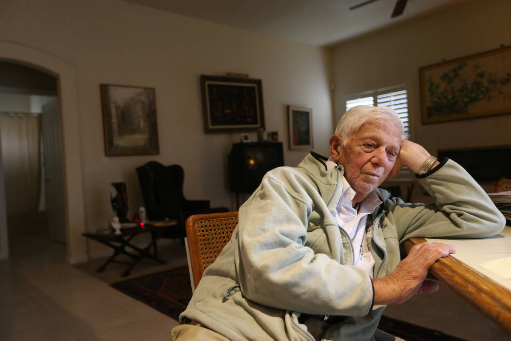 Dr. S. Jay Hazan, 93,a World War II veteran, is interviewed at his home in Las Vegas, Wednesday, Dec. 5, 2018. Hazan was arrested on Friday after he caused a ruckus at the VA hospital and stole ...
