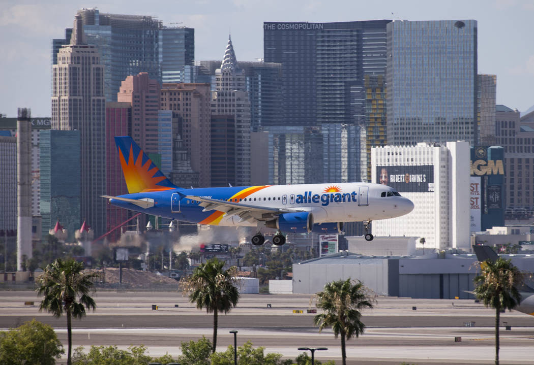 An Allegiant Air flight prepares to land at McCarran International Airport in Las Vegas on Monday, July 23, 2018. Richard Brian Las Vegas Review-Journal @vegasphotograph