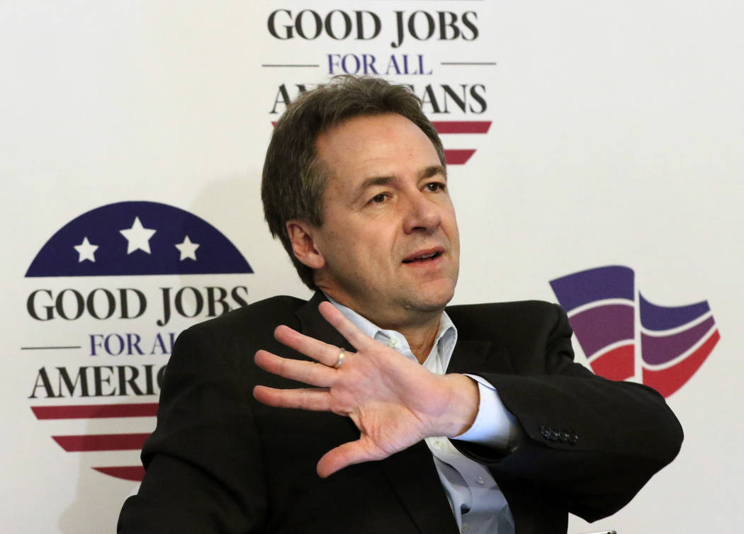 Montana Gov. Steve Bullock speaks during a panel discussion on employment and how to equip the workforce for jobs of the future on Wednesday, Dec. 5, 2018 during the National Governors Associ ...