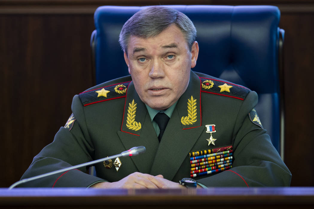 Deputy Chief of General Staff of Russia, Valery Gerasimov delivers his speech during a briefing in the Russian Defense Ministry's headquarters in Moscow, Russia, Wednesday, Dec. 5, 2018. Gerasim ...