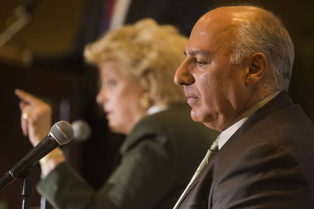 Mayor Carolyn Goodman, left, and Councilman Stavros Anthony appear together at an event on Thursday, March 19, 2015. (Jeff Scheid/Las Vegas Review-Journal)