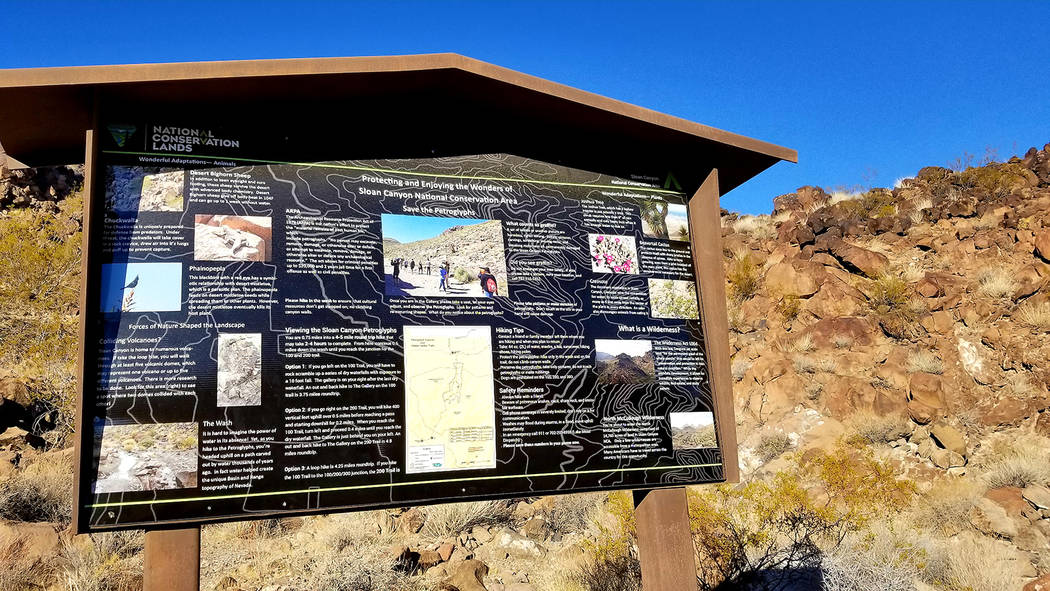 Helpful information about animals, plants and geology is available on informational signs en route to Petroglyph Canyon. (Natalie Burt)