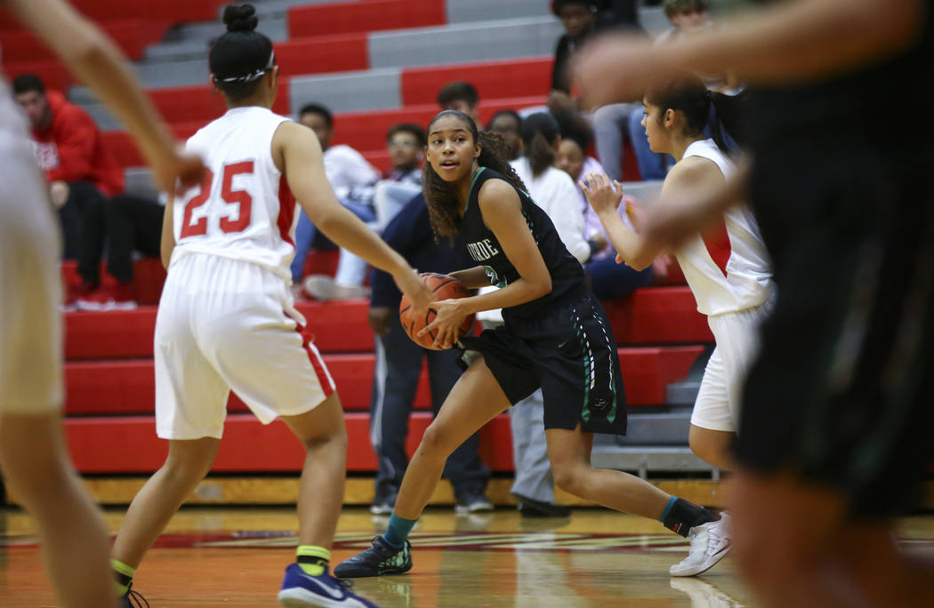 Palo Verde's Kedrena Johnson moves the ball against Arbor View during the second half of a basketball game at Arbor View High School in Las Vegas on Wednesday, Dec. 5, 2018. Chase Stevens Las Vega ...