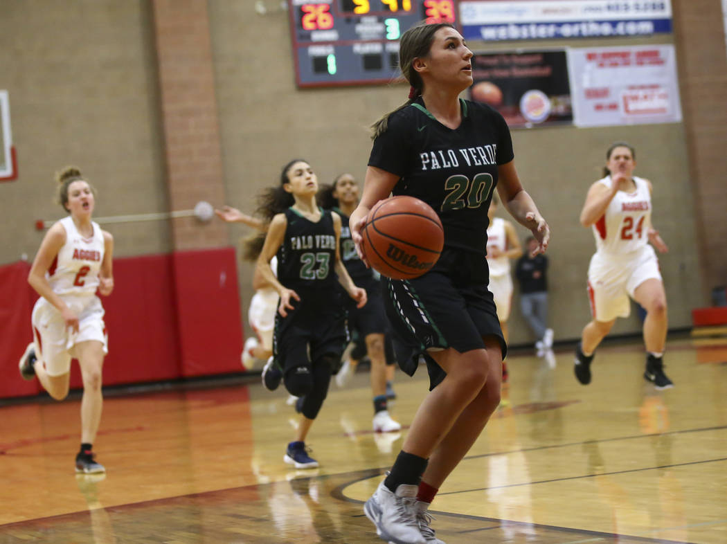 Palo Verde's Sierra Lueck (20) drives to the basket against Arbor View during the second half of a basketball game at Arbor View High School in Las Vegas on Wednesday, Dec. 5, 2018. Chase Stevens ...