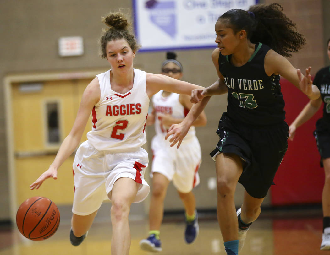 Arbor View's Alina Oranchak (2) brings the ball up court against Palo Verde's Kedrena Johnson (13) during the first half of a basketball game at Arbor View High School in Las Vegas on Wednesday, D ...