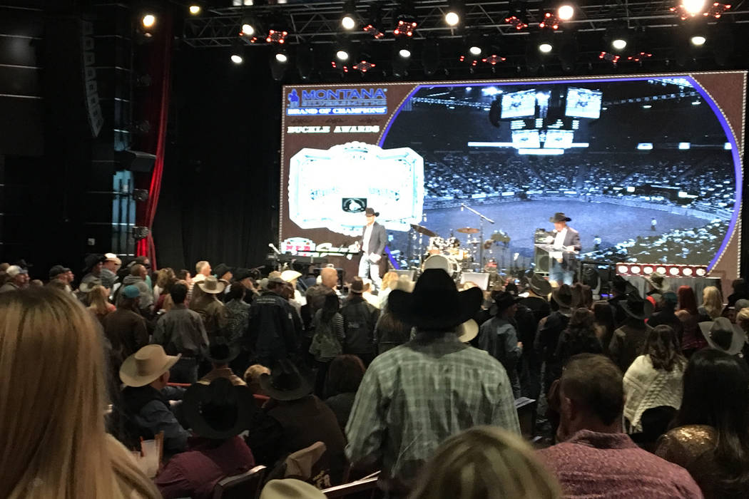 After each night of the Wrangler NFR, it's always a festive atmosphere and a full house in the South Point Showroom, for the go-round buckle awards presentation, followed by a free concert. Patric ...