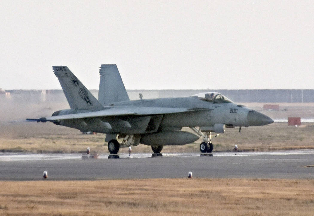 This March, 2018, photo shows a F/A-18 jet at United States Marine Corps air station in Iwakuni, western Japan. Two American warplanes crashed into the Pacific Ocean off Japan's southwestern coas ...