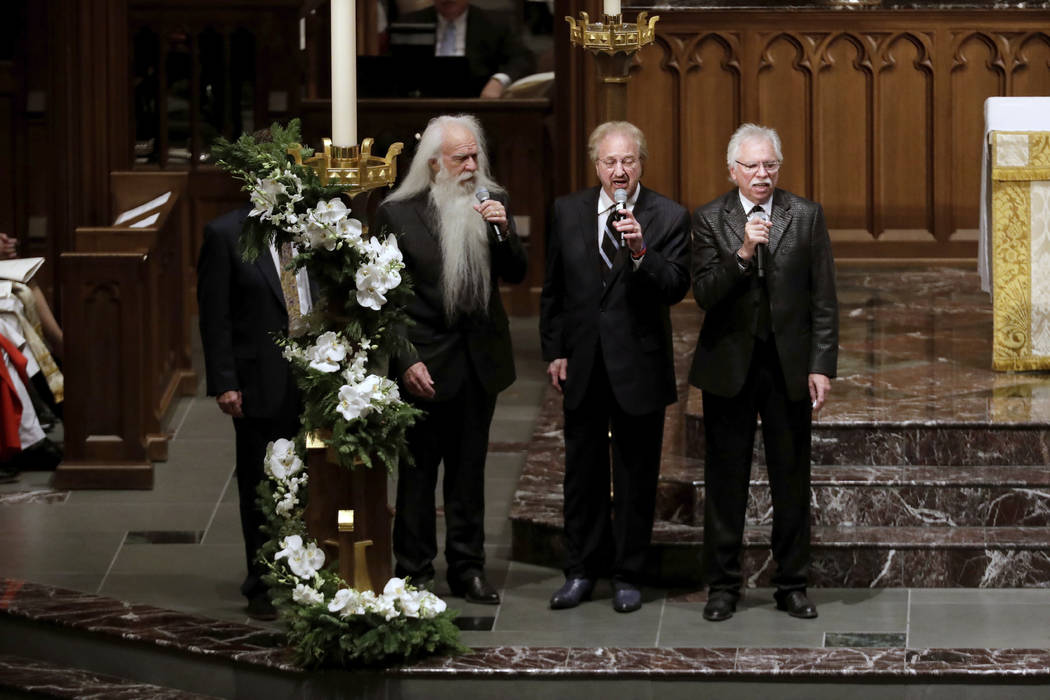 "The Oak Ridge boys sing ""Amazing Grace"" during a funeral service for former President George H.W. Bush at St. Martin's Episcopal Church Thursday, Dec. 6, 2018, in Houston. (AP Pho ..."