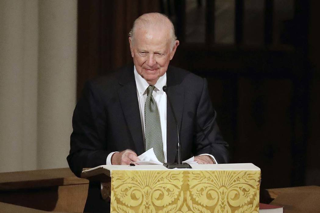 Former Secretary of State James Baker III gives a eulogy during a funeral for former President George H.W. Bush at St. Martin's Episcopal Church Thursday, Dec. 6, 2018, in Houston. (AP Photo/Mark ...