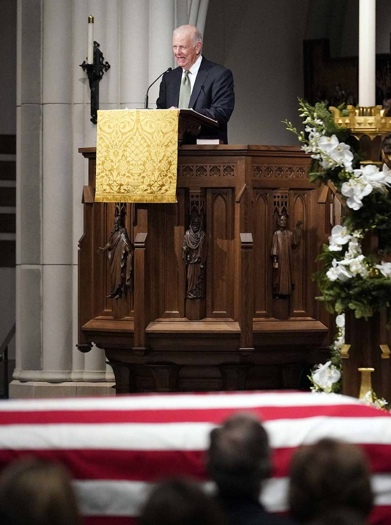 Former Secretary of State James Baker III gives a eulogy during the funeral for former President George H.W. Bush at St. Martin's Episcopal Church, Thursday, Dec. 6, 2018, in Houston.(AP Photo/Dav ...