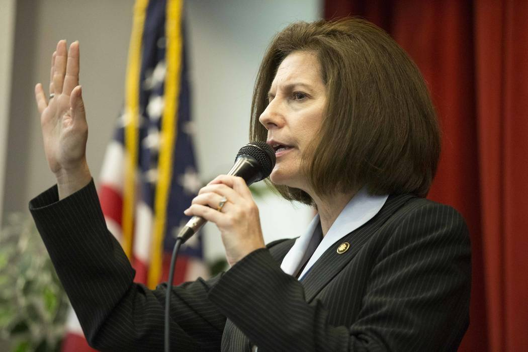 Sen. Catherine Cortez Masto, D-Nev., speaks to students and staff during a Hispanic Heritage Month event at Wendell P. Williams Elementary School in Las Vegas on Friday, Oct. 12, 2018. (Richard Br ...