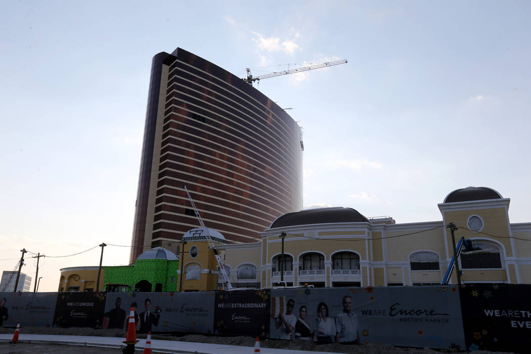 Encore Boston Harbor in Everett, Mass., under construction, Aug. 24, 2018. The resort, scheduled to open in June, will have 671 rooms including 104 suites. (K.M. Cannon/Las Vegas Review-Journal) @ ...