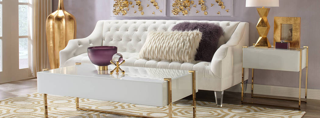 Gold, white and purple combine for a luxurious look. (Z Gallerie)