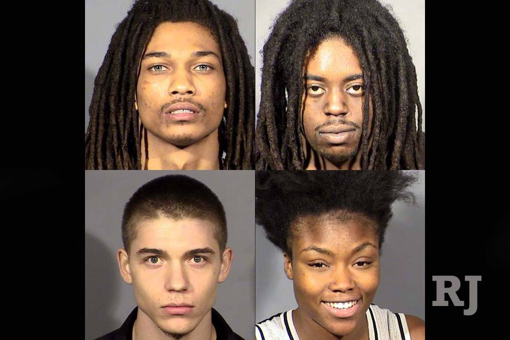 Clockwise from top left, Shamar Beard, Willie Lomas, Samya Bailey and Kyle Elkins-Beach (Las Vegas Metropolitan Police Department)
