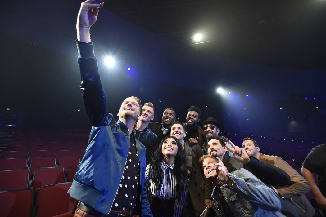 PENTATONIX: A NOT SO SILENT NIGHT -- 2018 -- Pictured: (l-r, clockwise) Scott Hoying, Nick Carter, Matt Sallee, Kevin Olusola, AJ McLean, Kevin Richardson, Howie Dorough, Brian Littrell, Mitch Gra ...