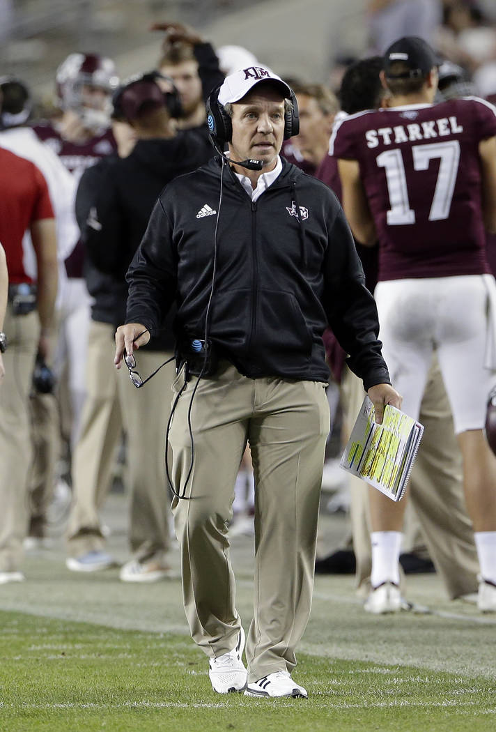 Texas A&M head coach Jimbo Fisher during the first half of an NCAA college football game Saturday, Nov. 17, 2018, in College Station, Texas. (AP Photo/Michael Wyke)