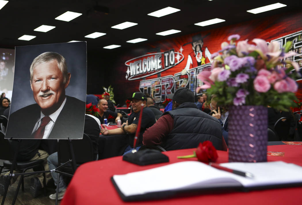 A photo of Jerry Herbst on display during a public memorial service in his memory at the Terrible Herbst Employment Center in Las Vegas on Thursday, Dec. 6, 2018. Herbst helped his family expand t ...