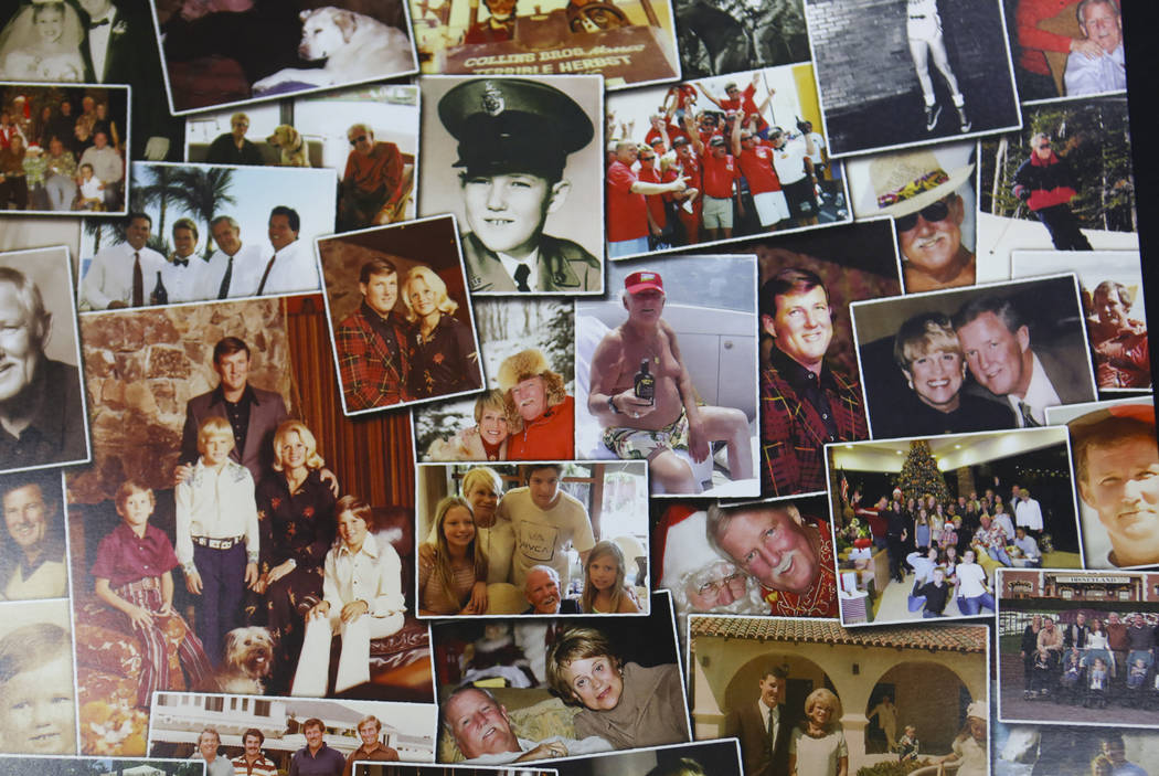 A collage of photos of Jerry Herbst and his family during a public memorial service in his memory at the Terrible Herbst Employment Center in Las Vegas on Thursday, Dec. 6, 2018. Herbst helped his ...