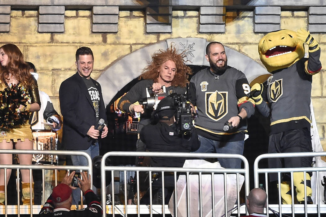 LAS VEGAS, NV - FEBRUARY 13: Comedian Carrot Top sounds the siren in the Castle to begin the 1st period of the game between the Vegas Golden Knights and the Chicago Blackhawks at T-Mobile Arena on ...