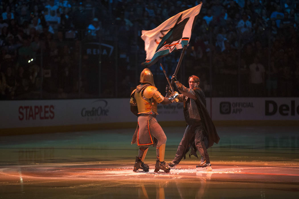 The Golden Knight performs on the ice ahead of Game 2 in the second-round playoff series between the Golden Knights and the San Jose Sharks at T-Mobile Arena in Las Vegas, Saturday, April 28, 2018 ...