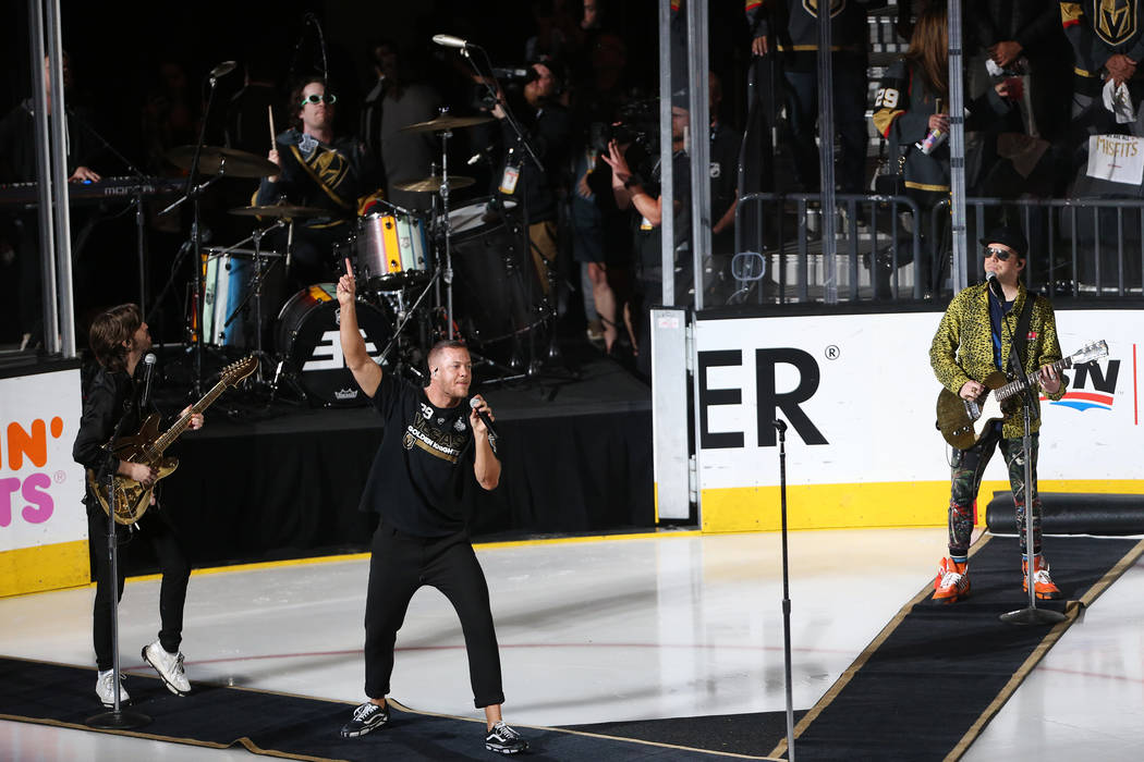 Imagine Dragons performs before Game 2 of the NHL hockey Stanley Cup Final between Vegas Golden Knights and Washington Capitals at T-Mobile Arena in Las Vegas, Wednesday, May 30, 2018. Erik Verduz ...