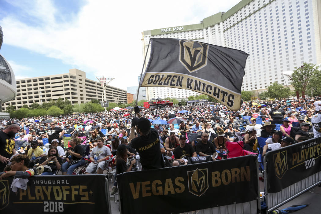 Golden Knights fans during a watch party for Game 5 of the Western Conference Finals between the Golden Knights and the Winnipeg Jets at Toshiba Plaza in Las Vegas on Sunday, May 20, 2018. Richard ...