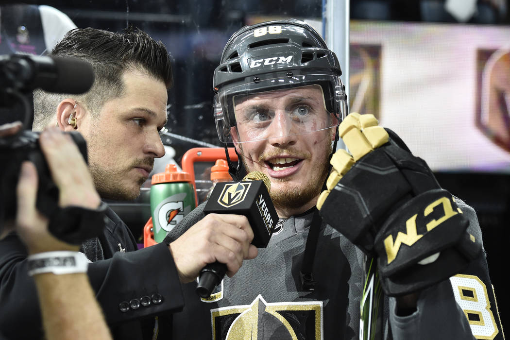 LAS VEGAS, NV - MAY 18: skates against the Winnipeg Jets in Game Four of the Western Conference Final during the 2018 NHL Stanley Cup Playoffs at T-Mobile Arena on May 18, 2018 in Las Vegas, Neva ...