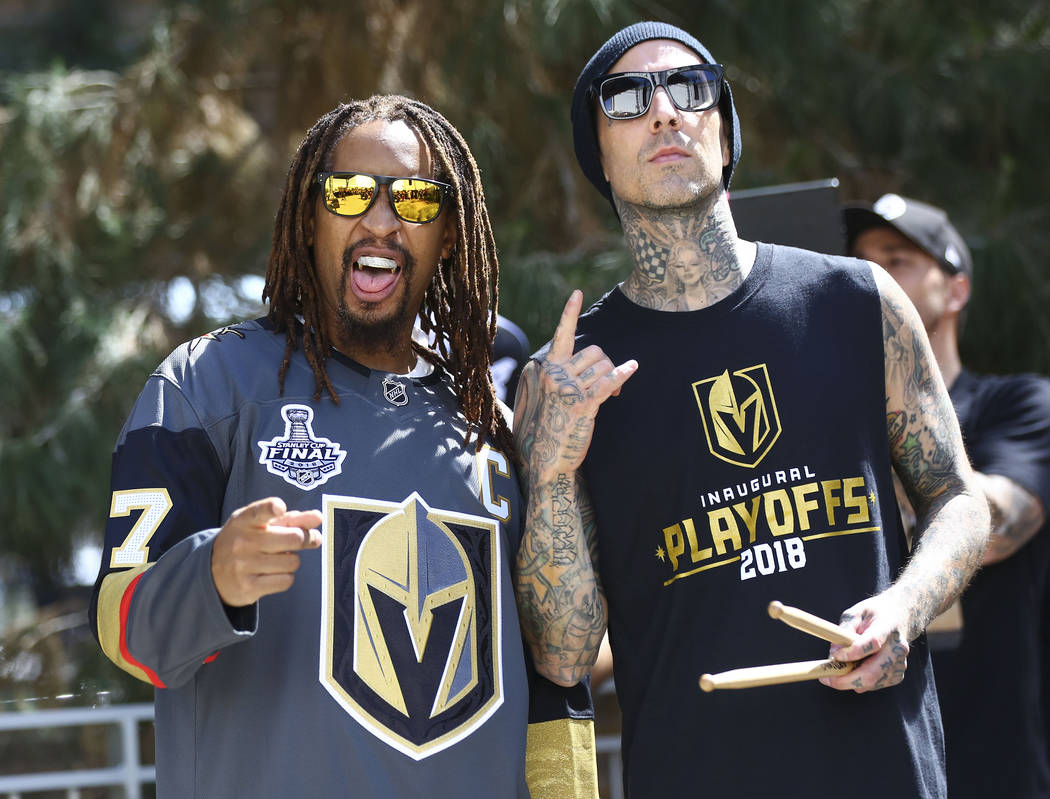 Lil Jon and Travis Barker pose before performing ahead of Game 1 of the NHL hockey Stanley Cup Final at the T-Mobile Arena in Las Vegas on Monday, May 28, 2018. Chase Stevens Las Vegas Review-Jour ...