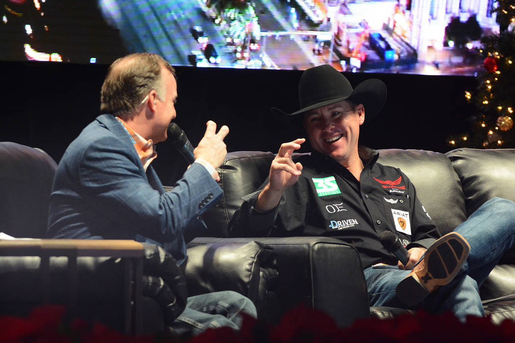 """Flint Rasmussen interviewing Trevor Brazile, during Flint's """"Outside the Barrel with Flint Rasmussen"""" show at a previous NFR. Photo credit: Steve Spatafore/Las Vegas Events"""