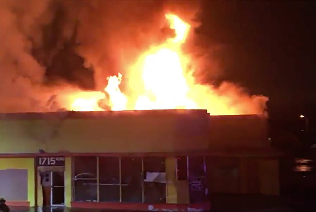 Firefighters battle a blaze at 1715 Fremont St. in Las Vegas on Thursday, Dec. 6, 2018. (Las Vegas Fire & Rescue via Twitter)