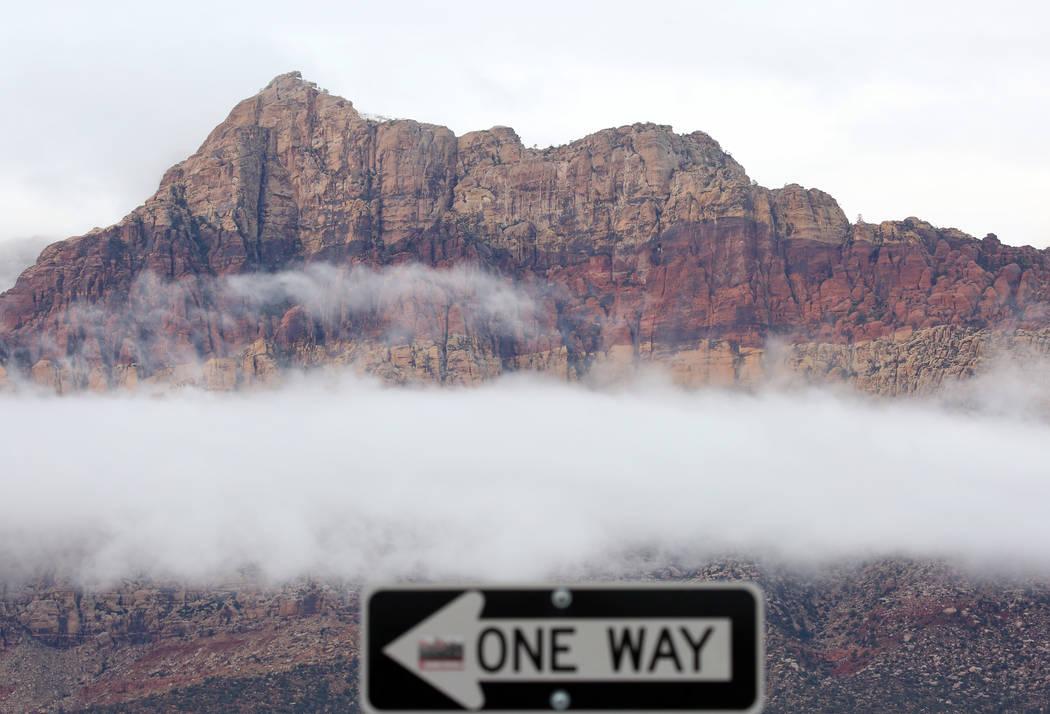Clouds loom around Red Rock Canyon on Friday, Dec. 7, 2018, in Las Vegas. Bizuayehu Tesfaye Las Vegas Review-Journal @bizutesfaye
