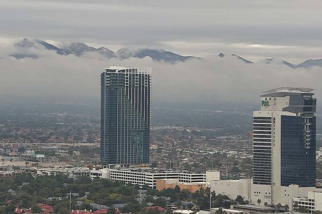 Clouds settle over the Spring Mountains west of the Las Vegas Valley on Friday, Dec. 7, 2018. (Las Vegas Review-Journal)
