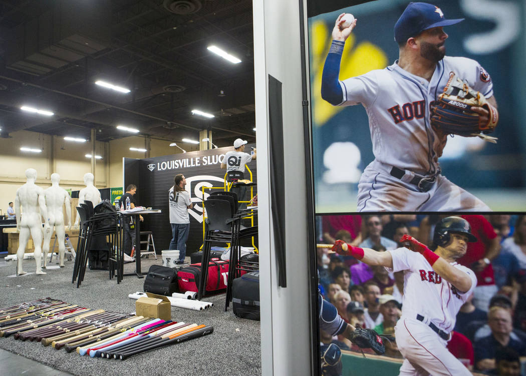 The Louisville Slugger booth is set up ahead of the baseball trade show during Major League Baseball's winter meetings at Mandalay Bay in Las Vegas on Sunday, Dec. 9, 2018. Chase Stevens Las Vegas ...