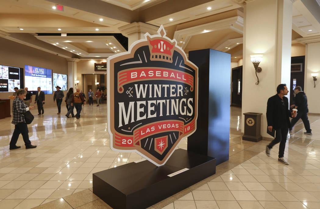 Signage for Major League Baseball's winter meetings at Mandalay Bay in Las Vegas on Sunday, Dec. 9, 2018. Chase Stevens Las Vegas Review-Journal @csstevensphoto